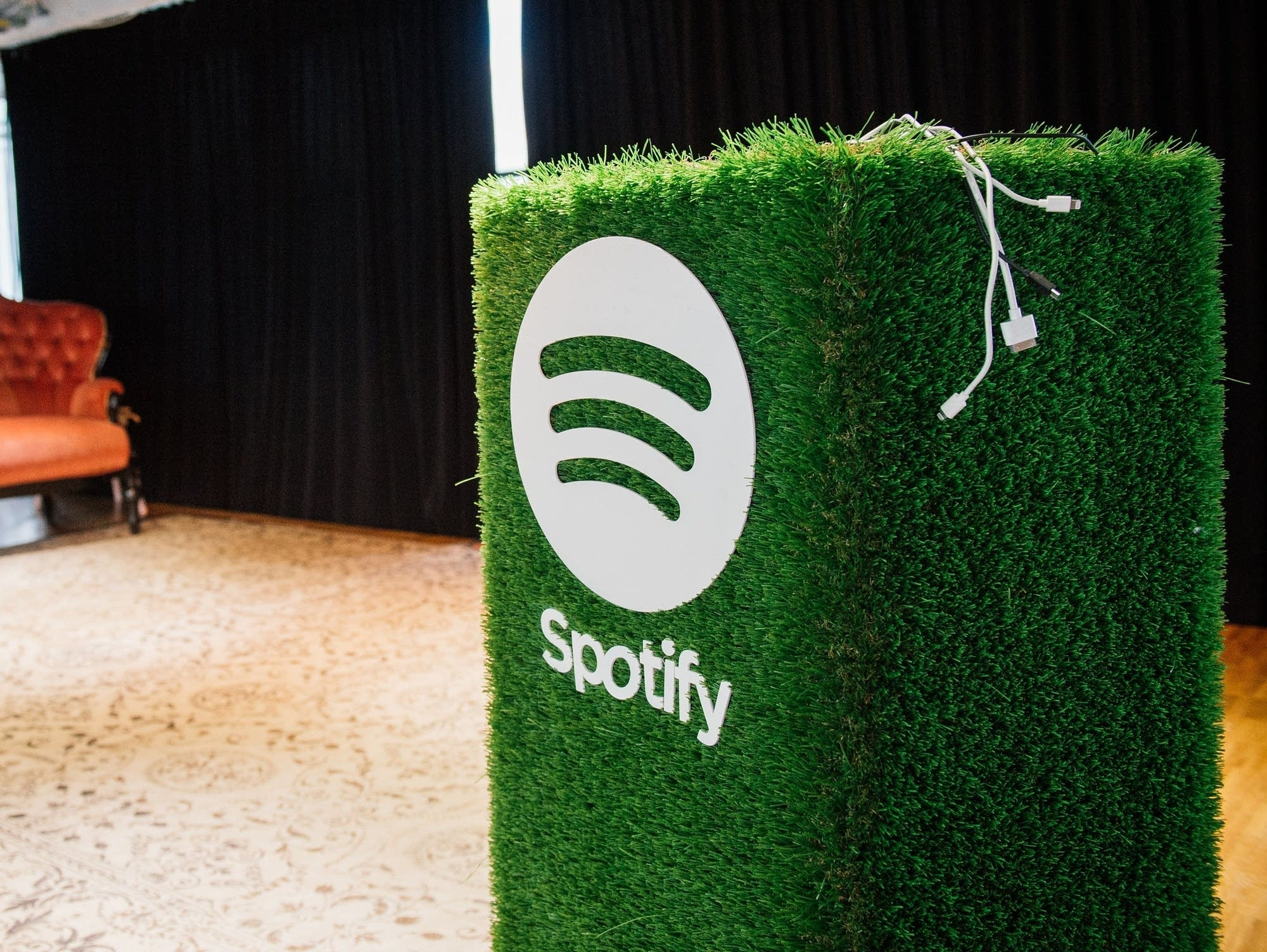 A speaker with the Spotify logo is pictured at the company headquarters.