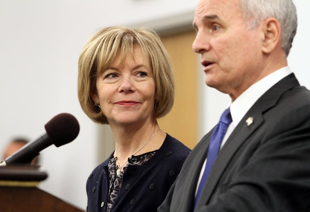 Lt. Gov.-elect Tina Smith listens to Dayton