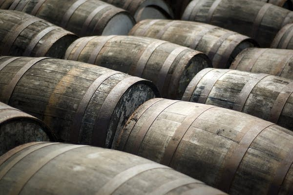 Scotch whisky ageing in barrels