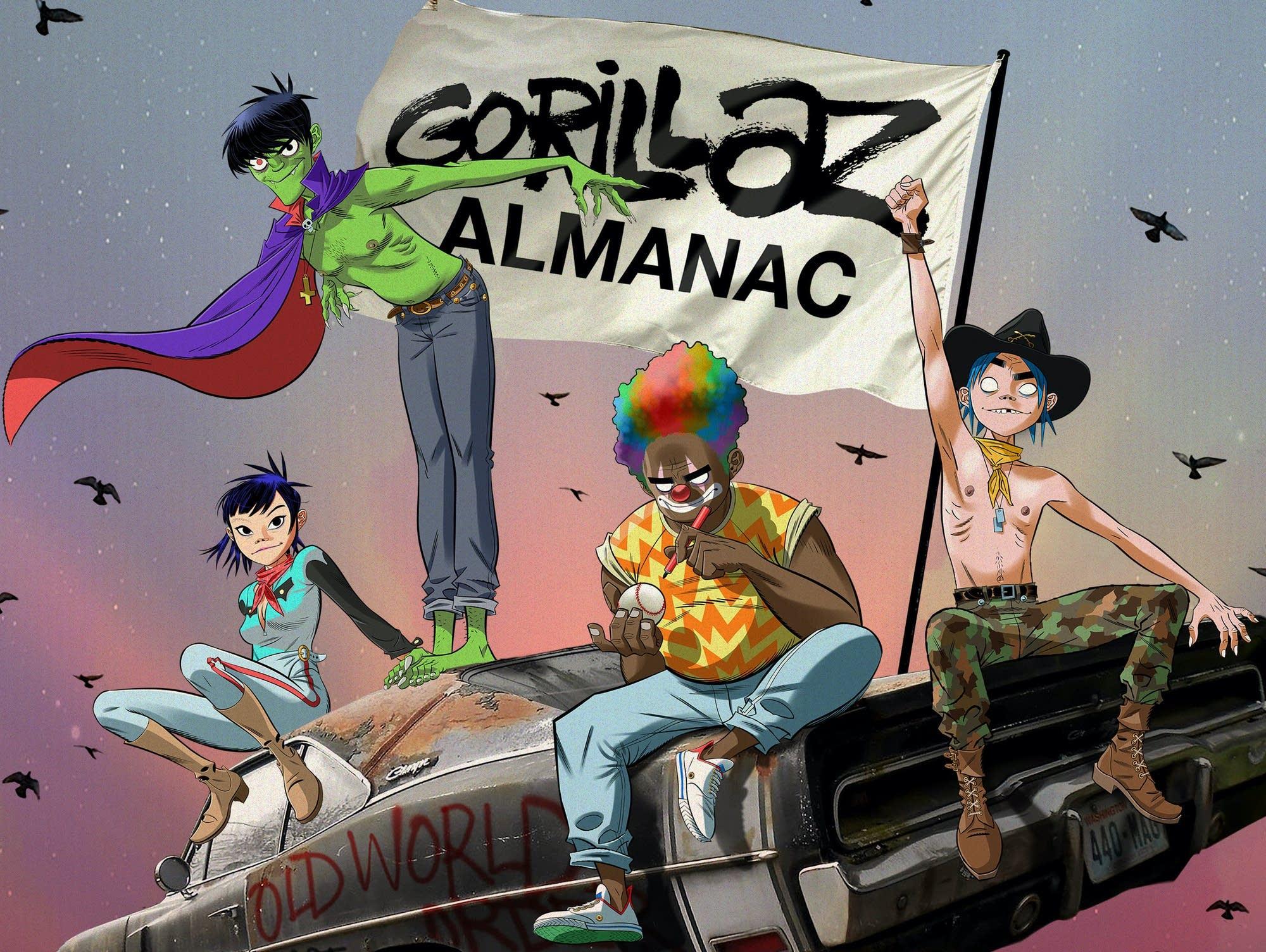 Gorillaz band members on flying car with 'Gorillaz Almanac' flag waving.