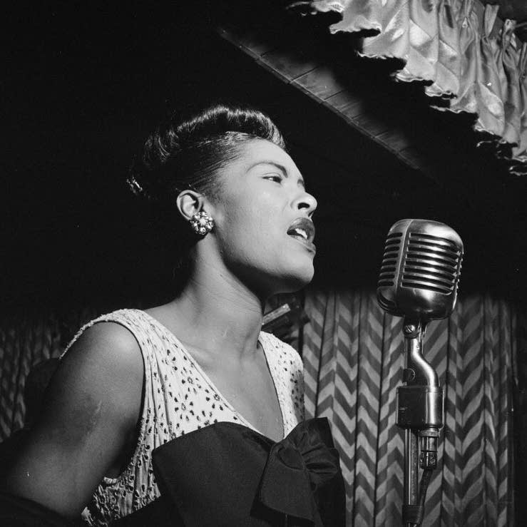 Billie Holiday performs in New York, Feb. 1947
