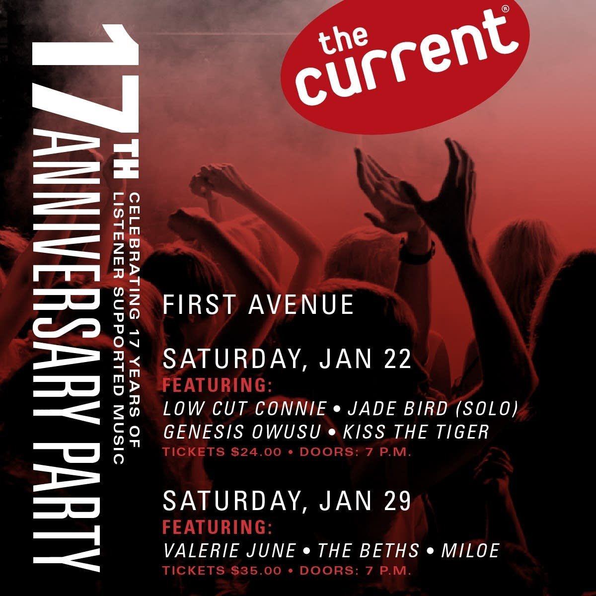 The Current's 17th Anniversary Party graphic - poster with artists