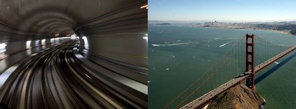 Right: Parisian tunnel. Left: Golden gate bridge