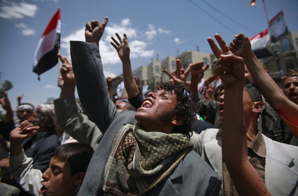 Anti-government protestors  in Yemen