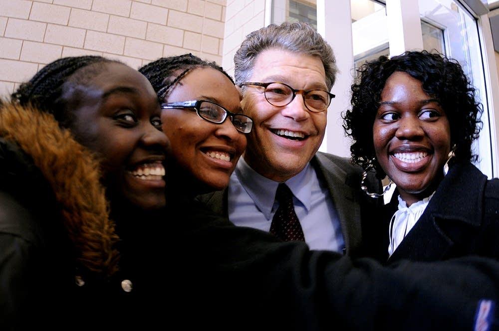 Al Franken greeted Obama supporters