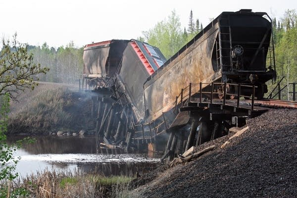 Cars on fire on a Canadian National Railway train.