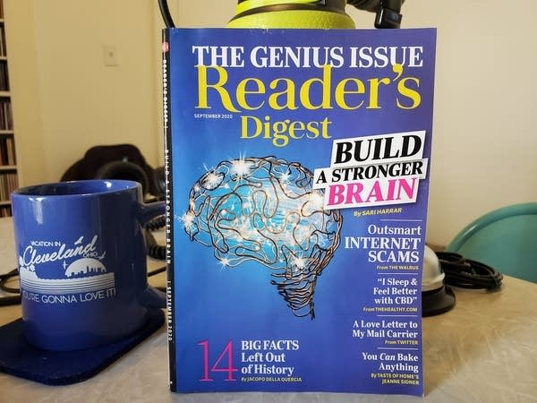 Sept 2020 issue of Reader's Digest on Andrew's desk. Cover features a brain