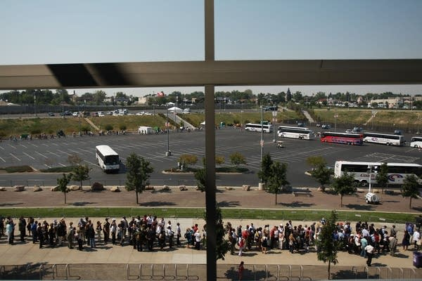 The security line to get into Invesco Field