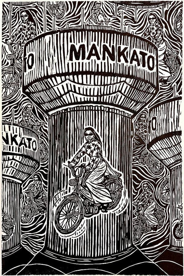 A woodcut artwork in black and white