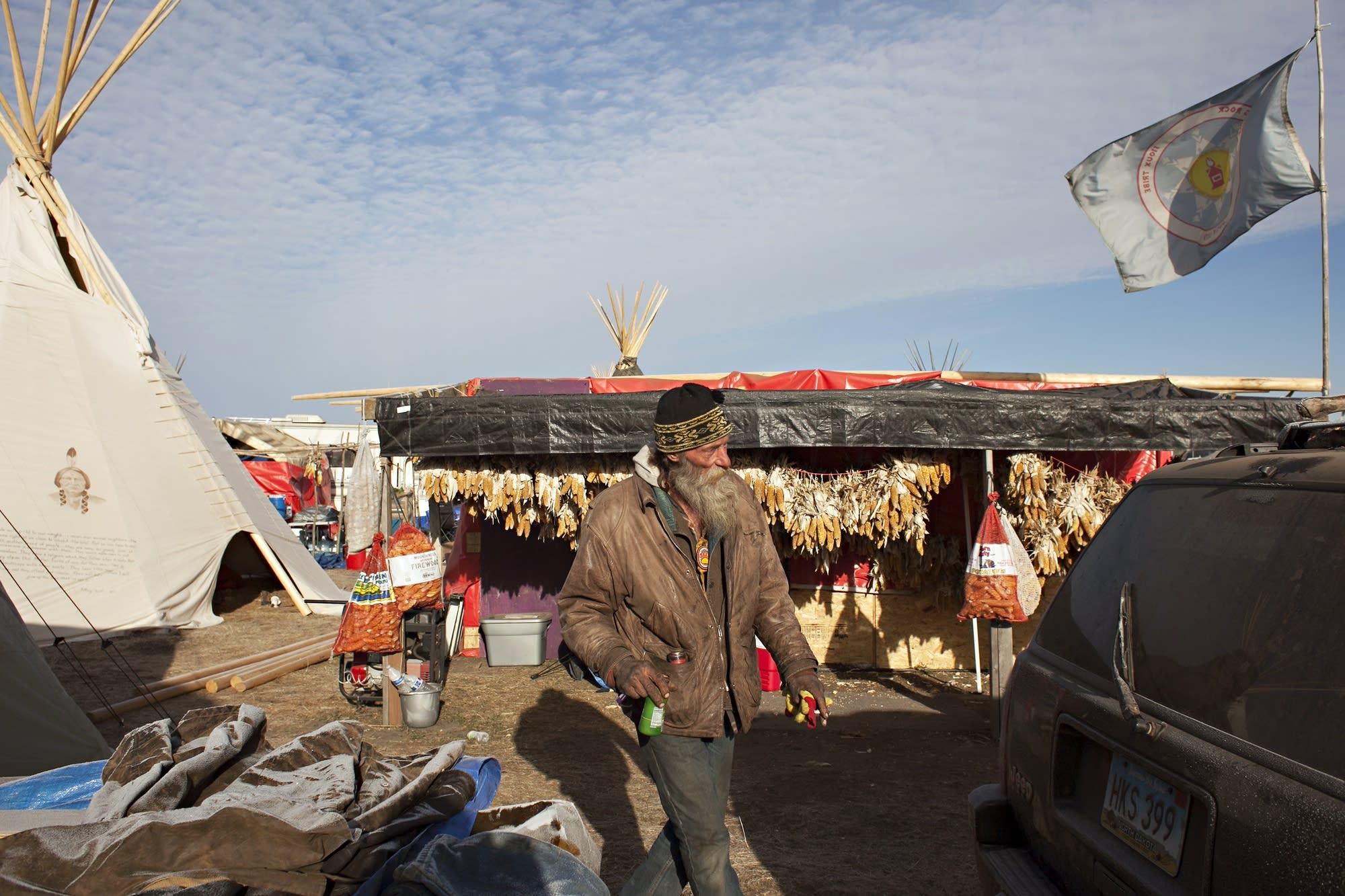 Mark Lesser of Minot, N.D., has spent two months there.