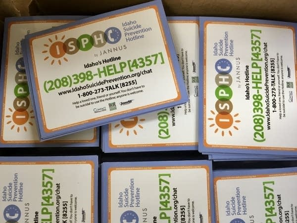 Magnets with information from The Idaho Suicide Prevention Hotline.