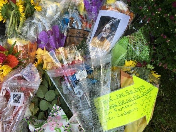 A memorial of flowers