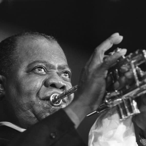 Louis Armstrong and trumpet