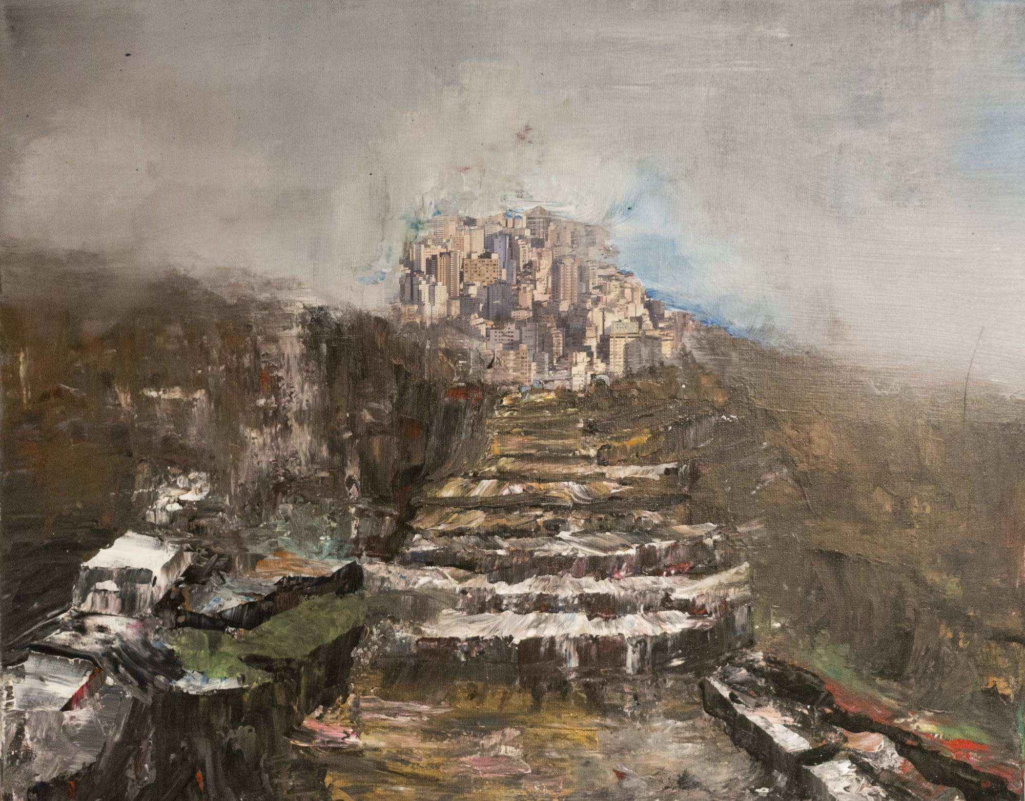 "Syed Hosain's painting ""Capitol in Wreckage."""