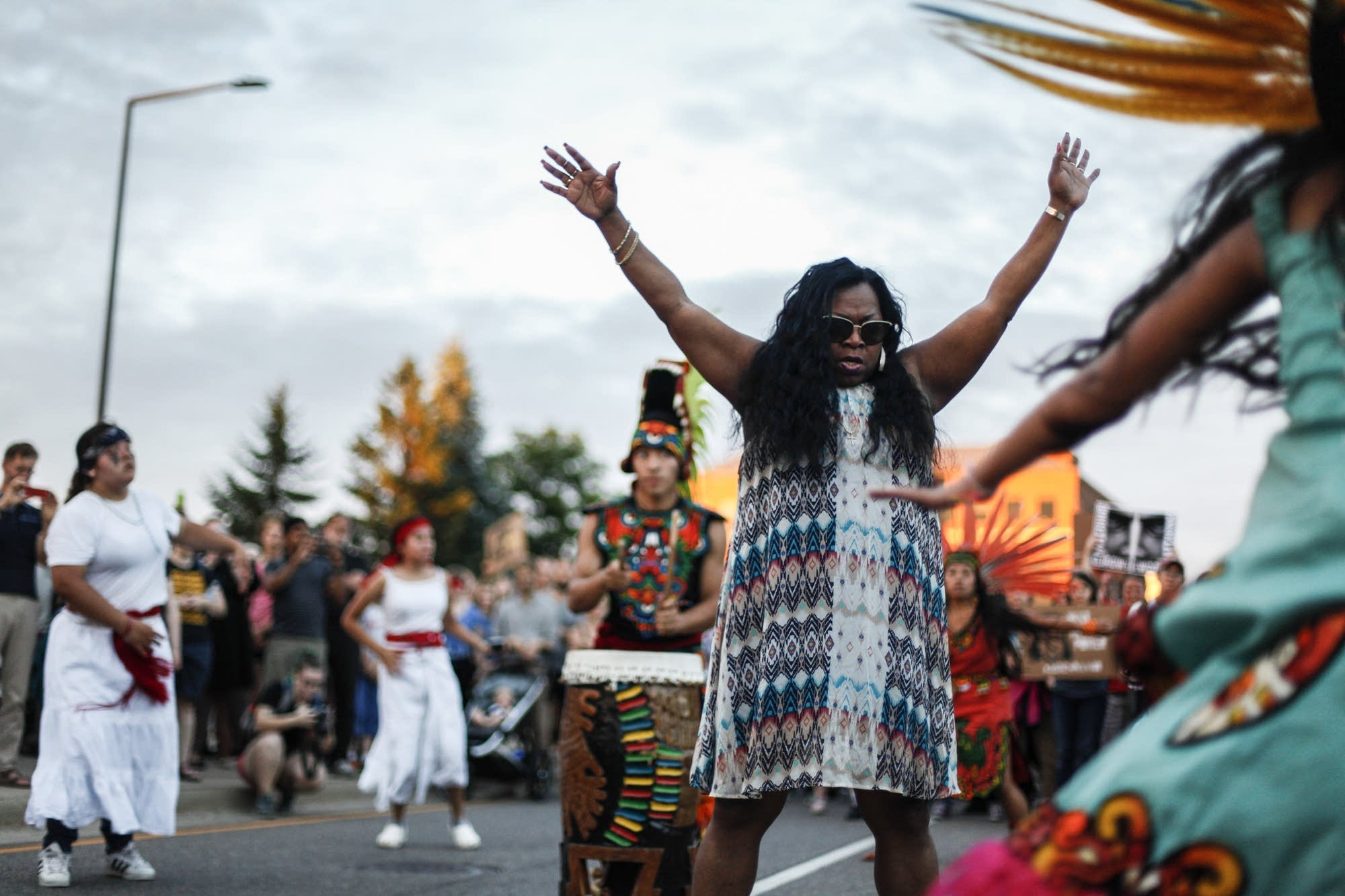 Valarie Castile, mother of Philando Castile dances during protest
