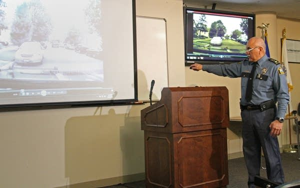 Asst. chief  Bill Martinez shows dash cam video.