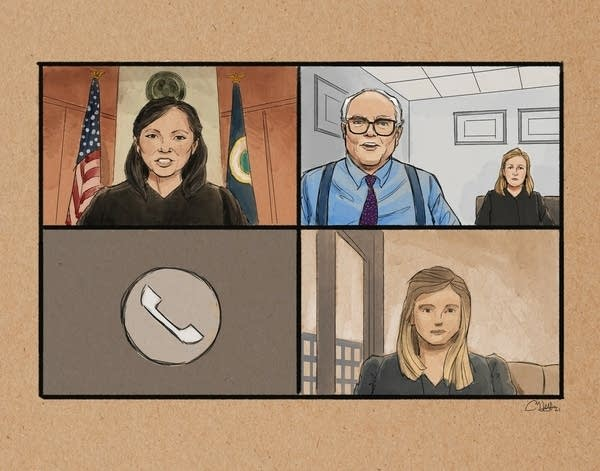 a courtroom sketch of Kim Potter appearing in court