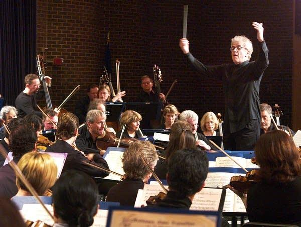 Vanska conducts the orchestra at South High.