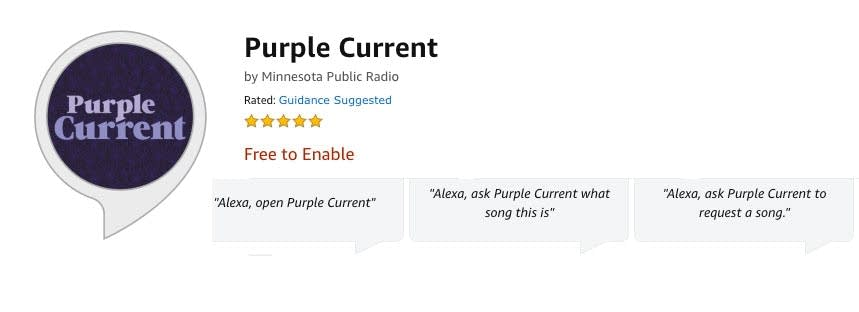 Purple Current Alexa skill