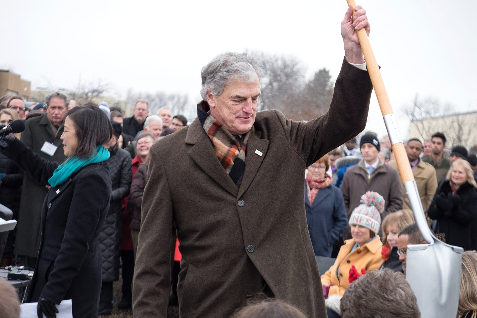 Peter McLaughlin brought his own shovel.