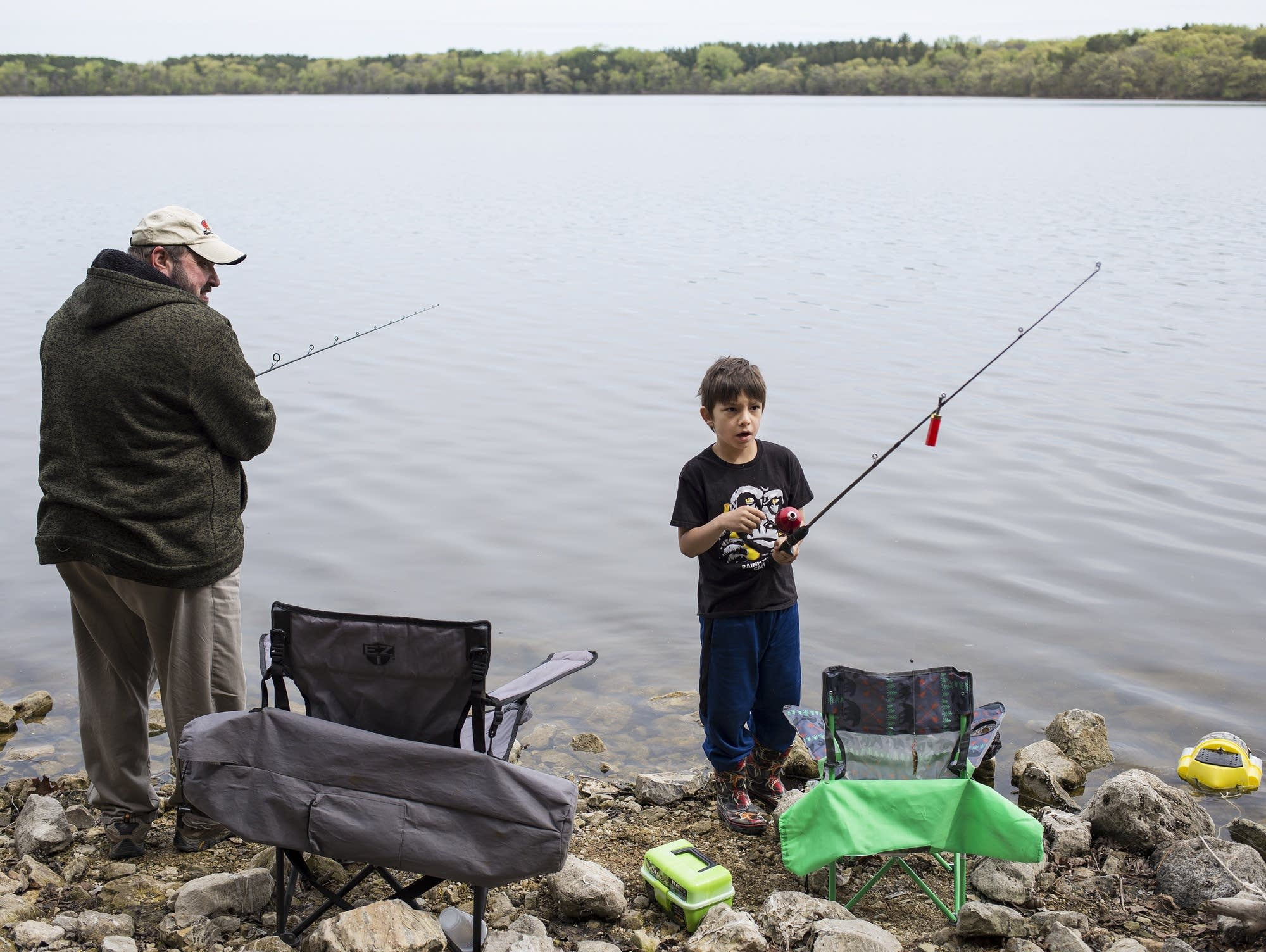 Hunter Johnson realizes his fishing line has become tangled