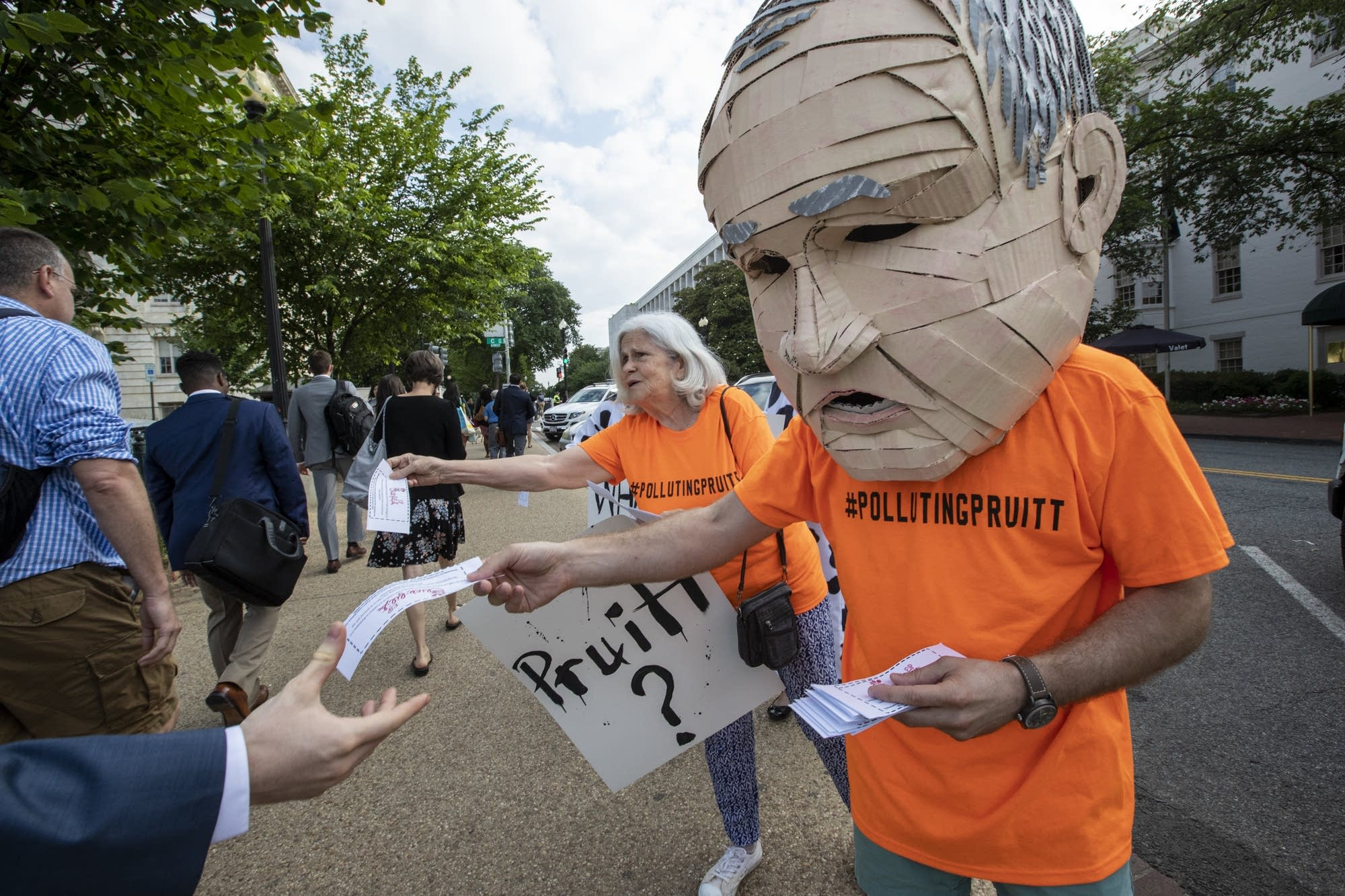 Activists opposed to EPA chief Scott Pruitt make their appeals