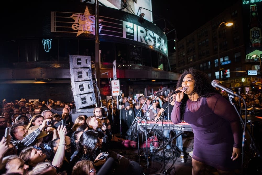 Lizzo performing outside First Avenue in 2016