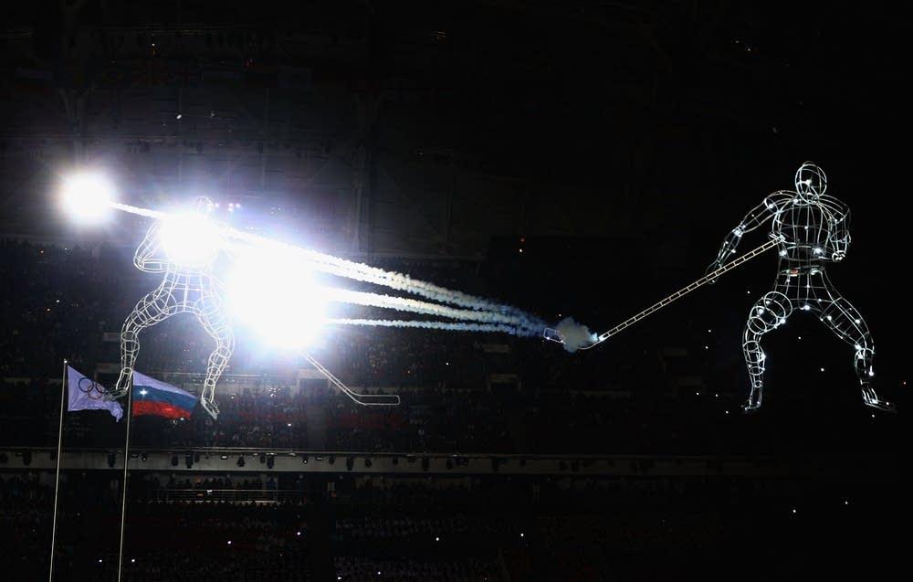Illuminated hockey players