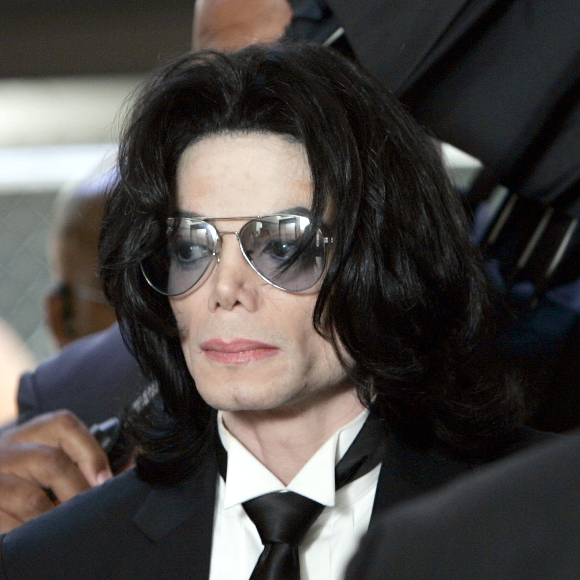 Michael Jackson arrives at court to hear the verdict of a 2005 trial.