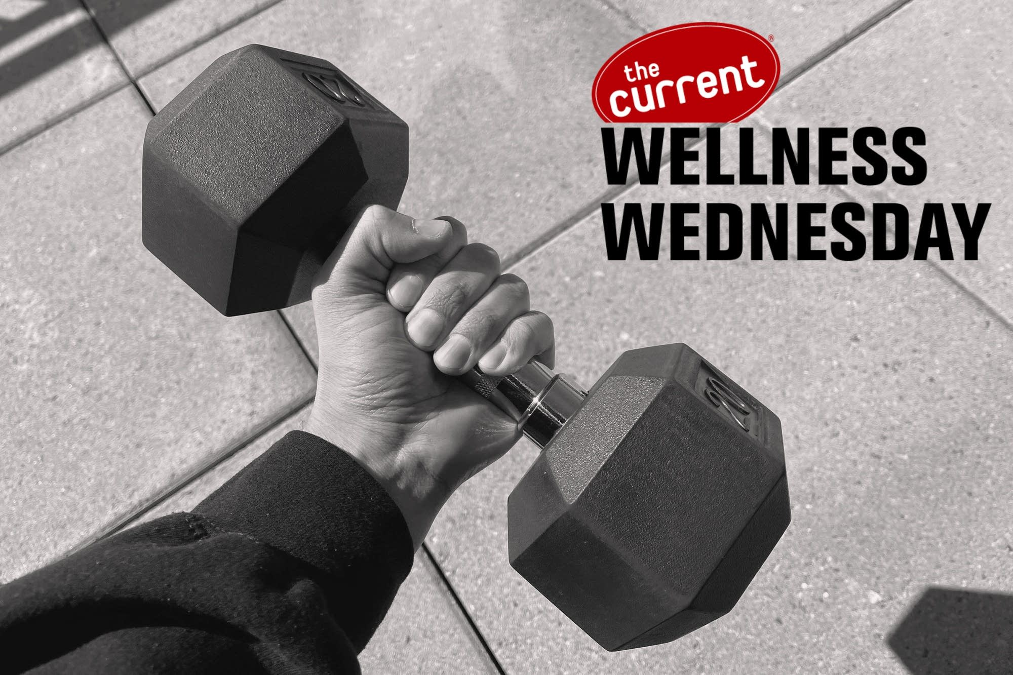 Hand holding a barbell with Wellness Wednesday logo.