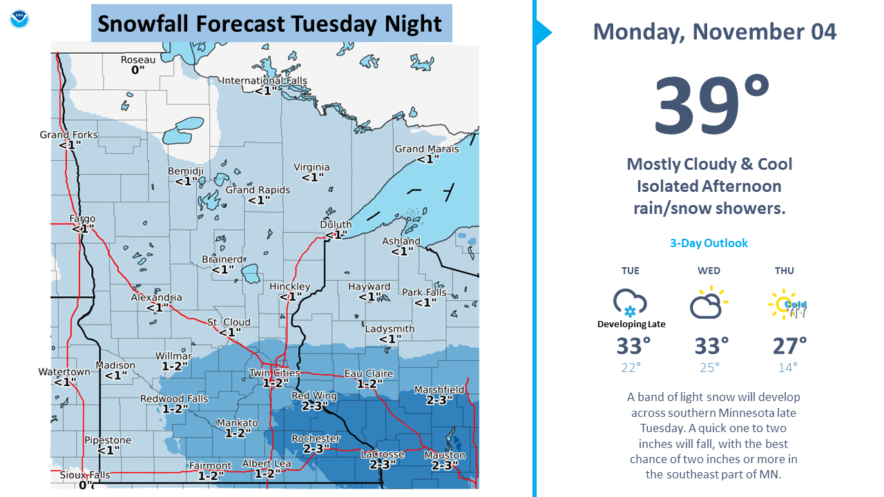 Possible snowfall accumulations Tuesday night