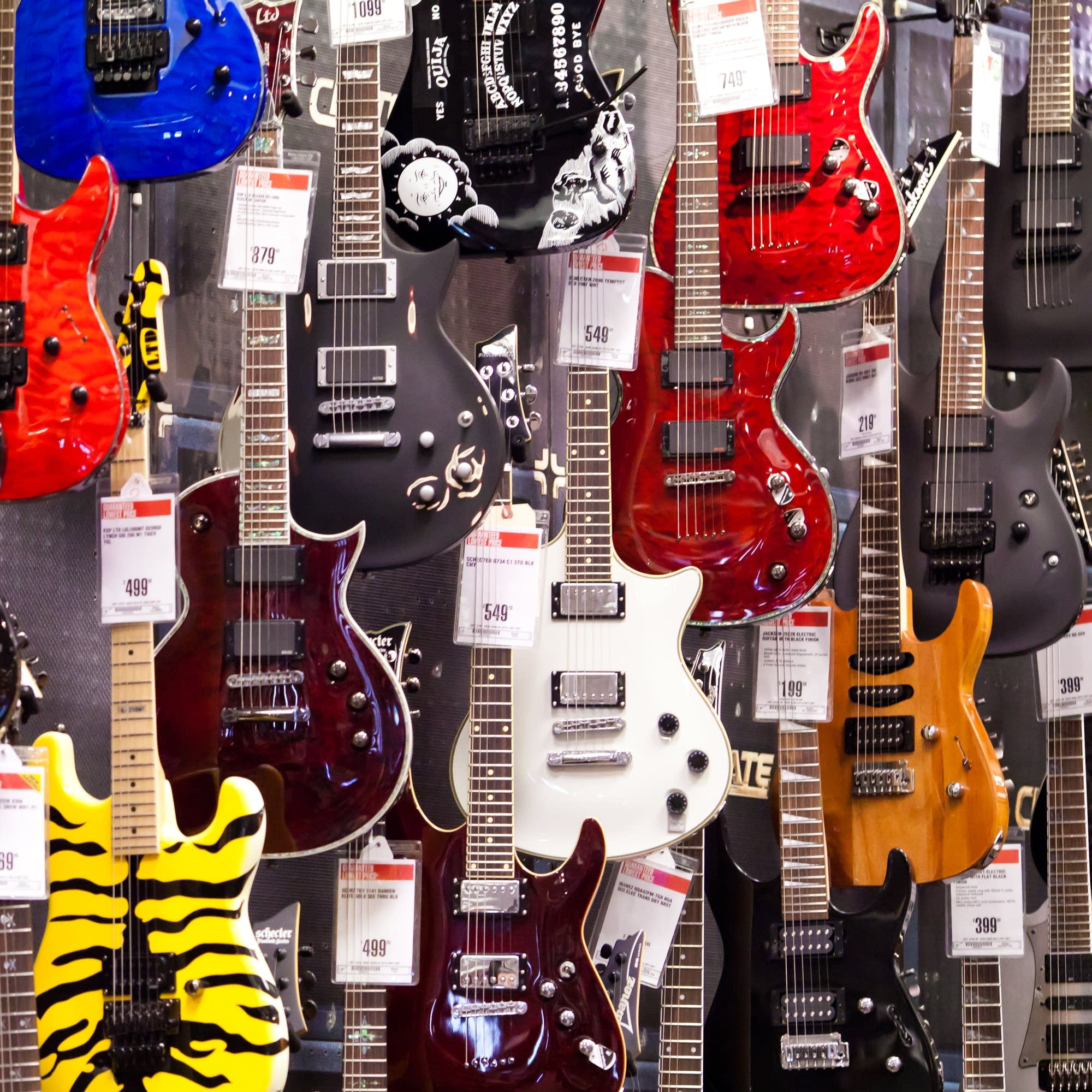 Electric guitars on sale at a Guitar Center in 2010.