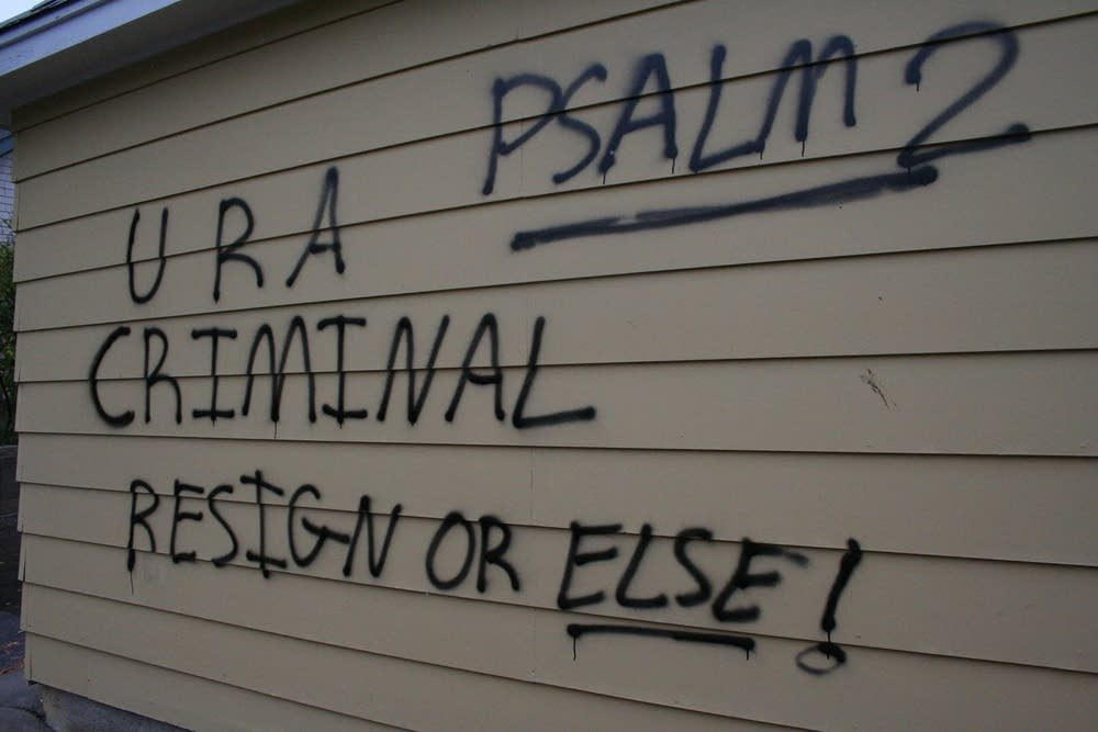 Graffiti on Sen. Norm Coleman's garage
