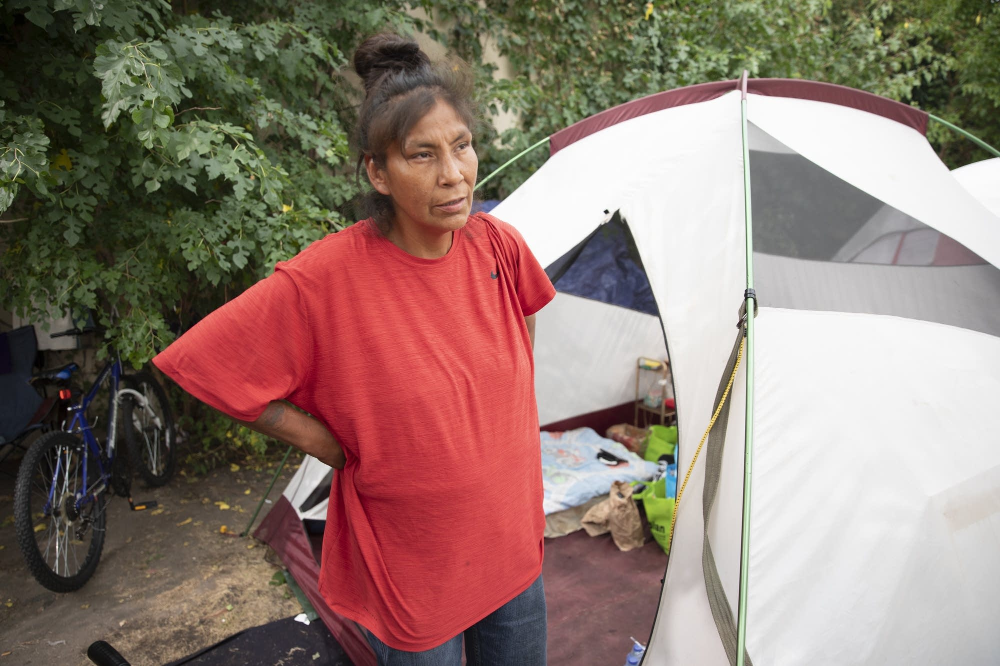 Angie Martin was one of the first residents to set a tent up.