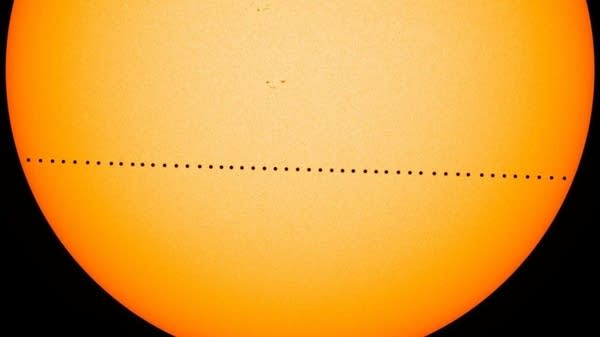 The planet Mercury passes directly between the sun and Earth