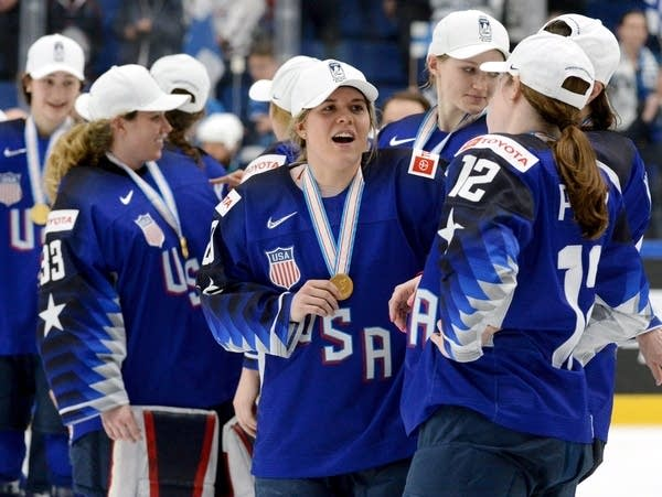 U.S. players celebrate during the medal ceremony