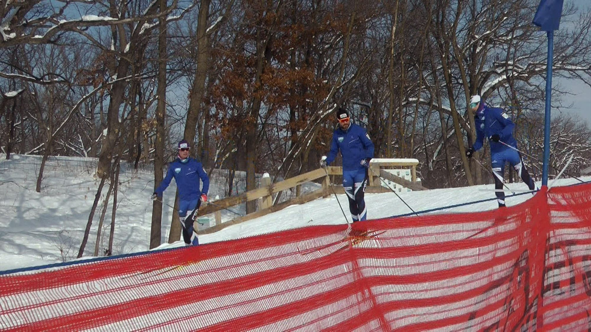Cross-country skiers practice at Theodore Wirth Regional Park.