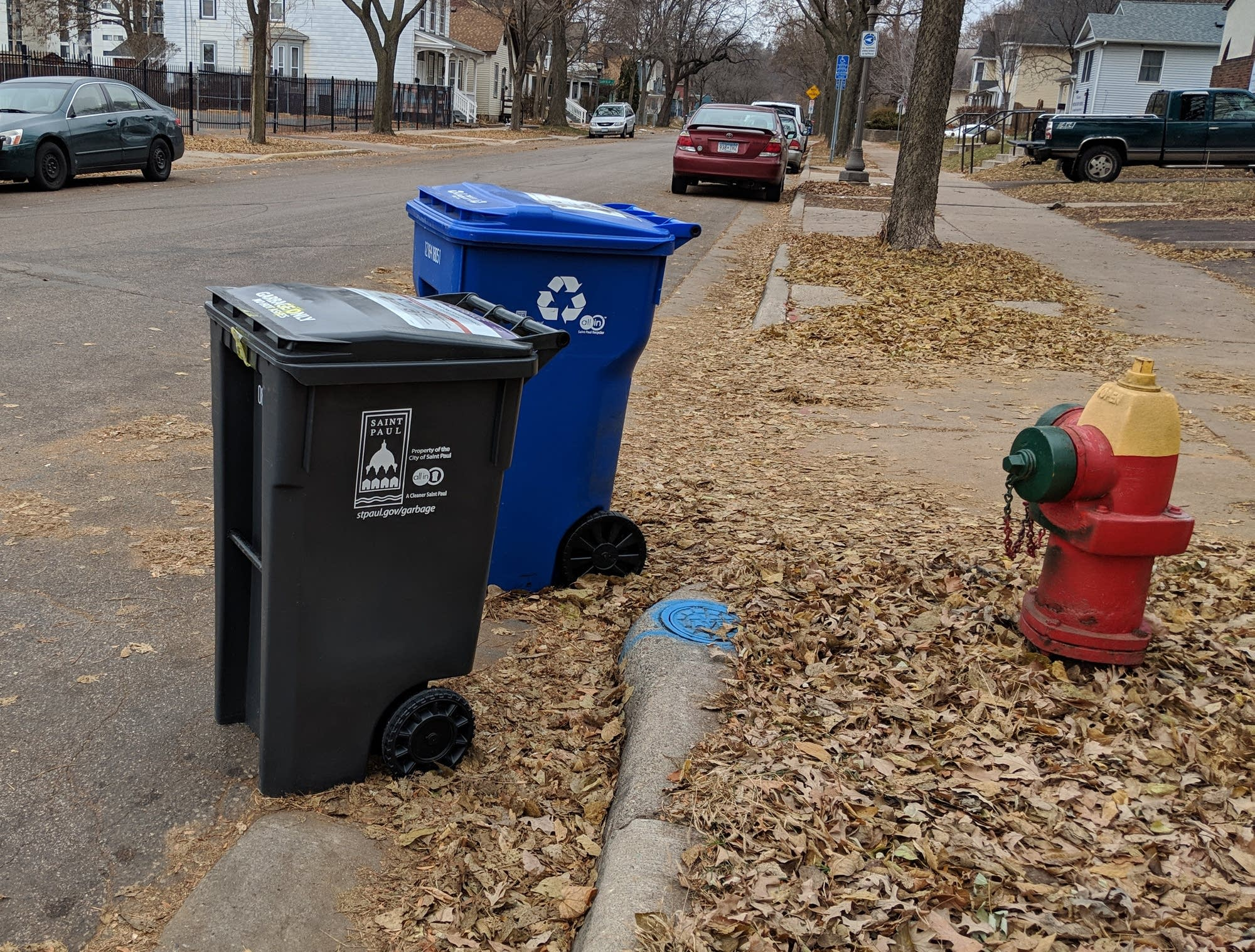St. Paul trash and recycling carts.