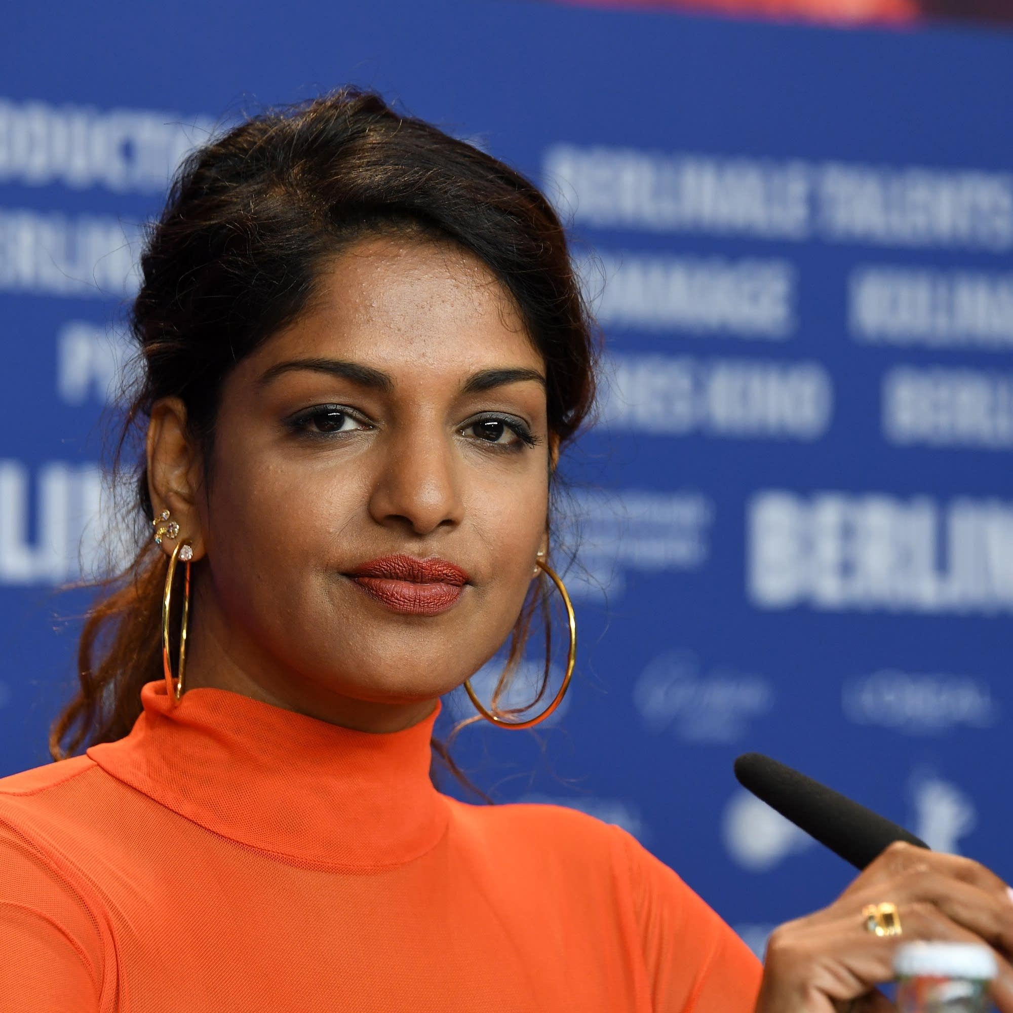 M.I.A. at a press conference in Berlin, 2018.