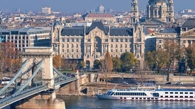 Classical Danube River Ship in front of Parliament in Budapest