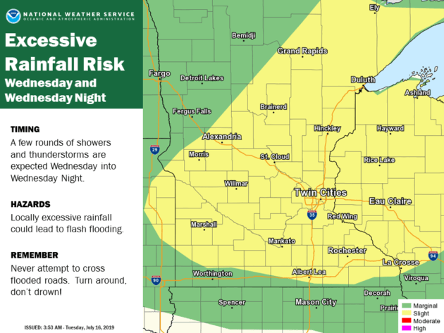 Excessive rainfall risk on July 16 across Minnesota