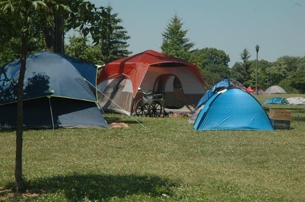 An encampment along 14th Avenue South in Minneapolis.