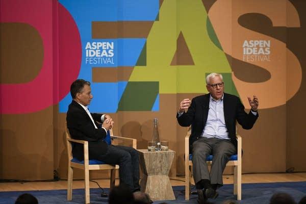 Jeffrey Rosen and David Rubinstein at the 2018 Aspen Ideas Festival.