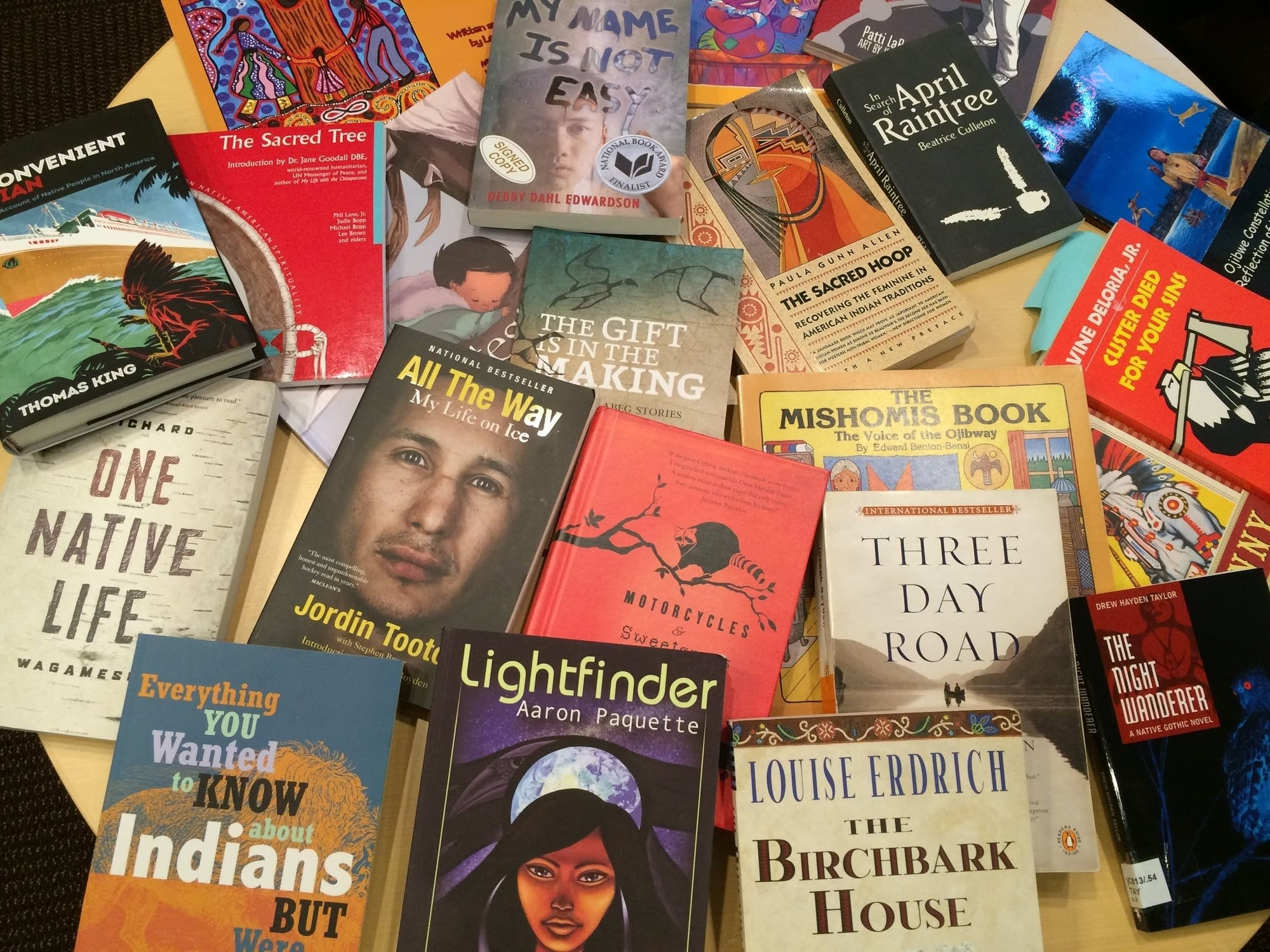 A collection of books by Native authors