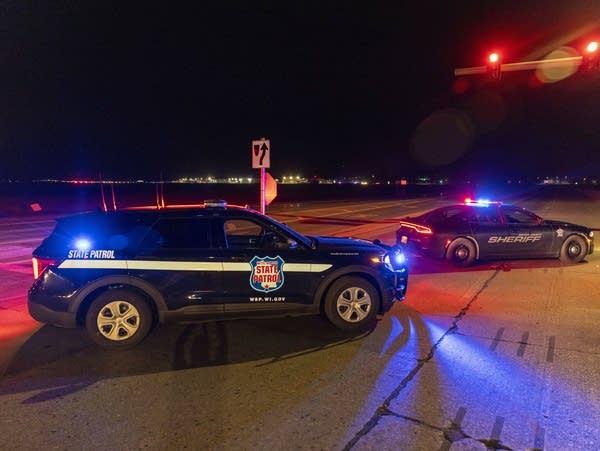 Law enforcement blocks a road