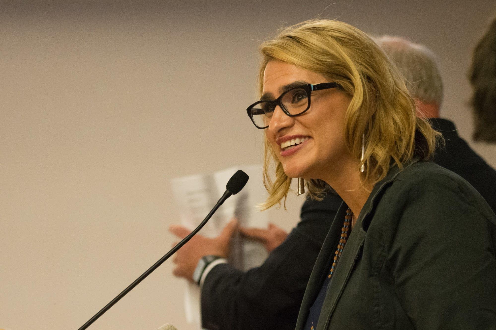 Peggy Flanagan, Walz' running mate, gives a victory speech.