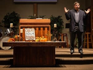 Guandolo speaks at the Warroad Baptist Church.