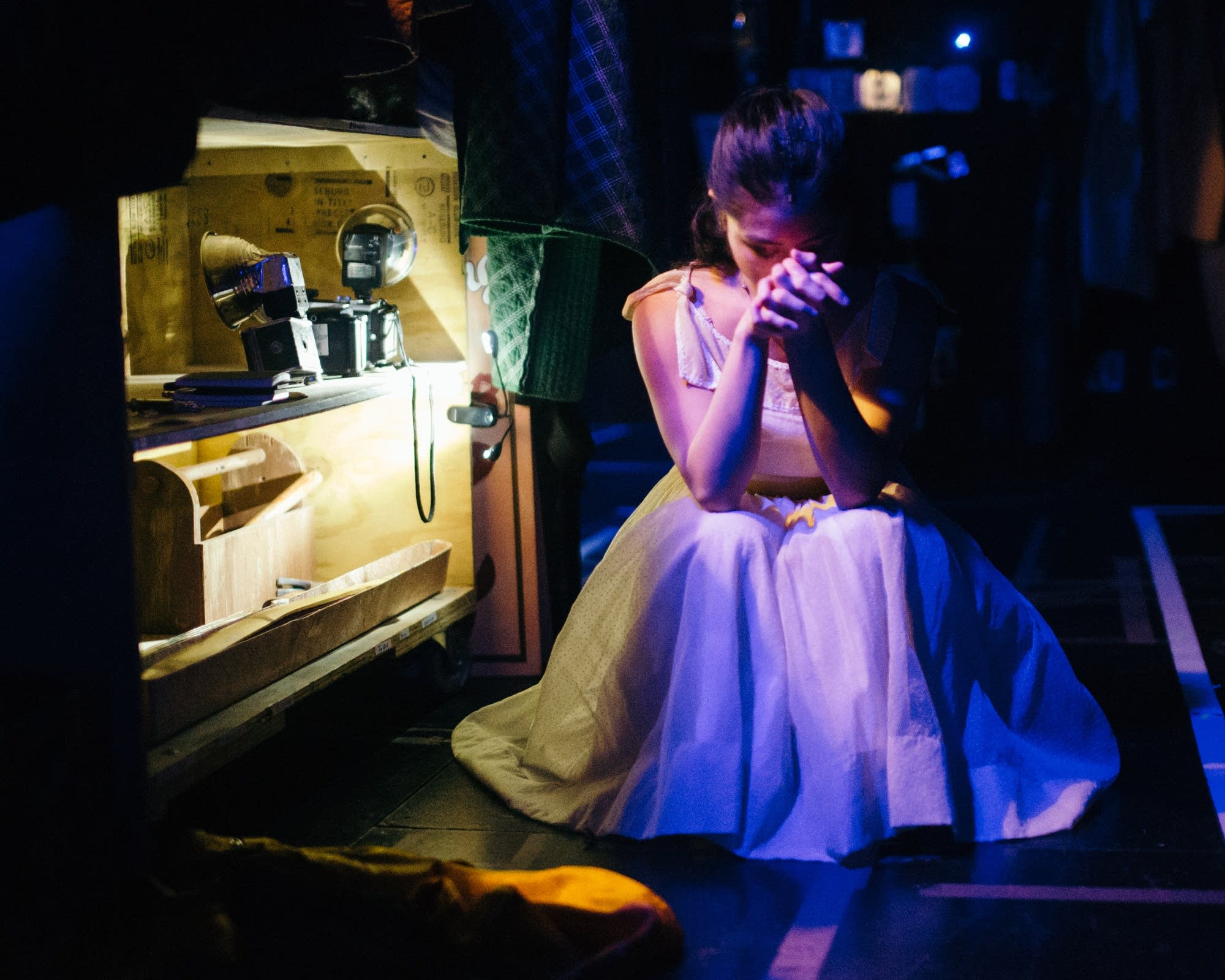 Stephanie Bertumen finds a quiet moment backstage.