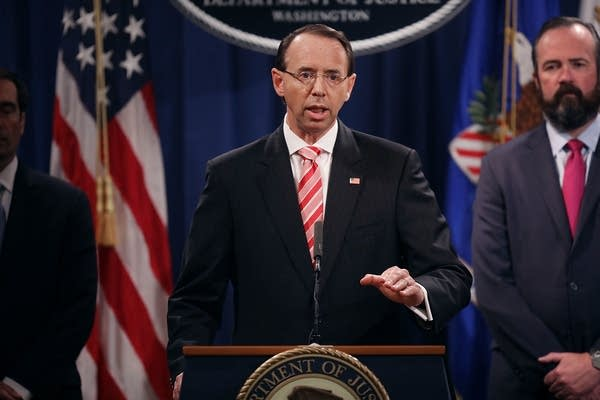 Deputy Attorney General Rod Rosenstein holds a news conference