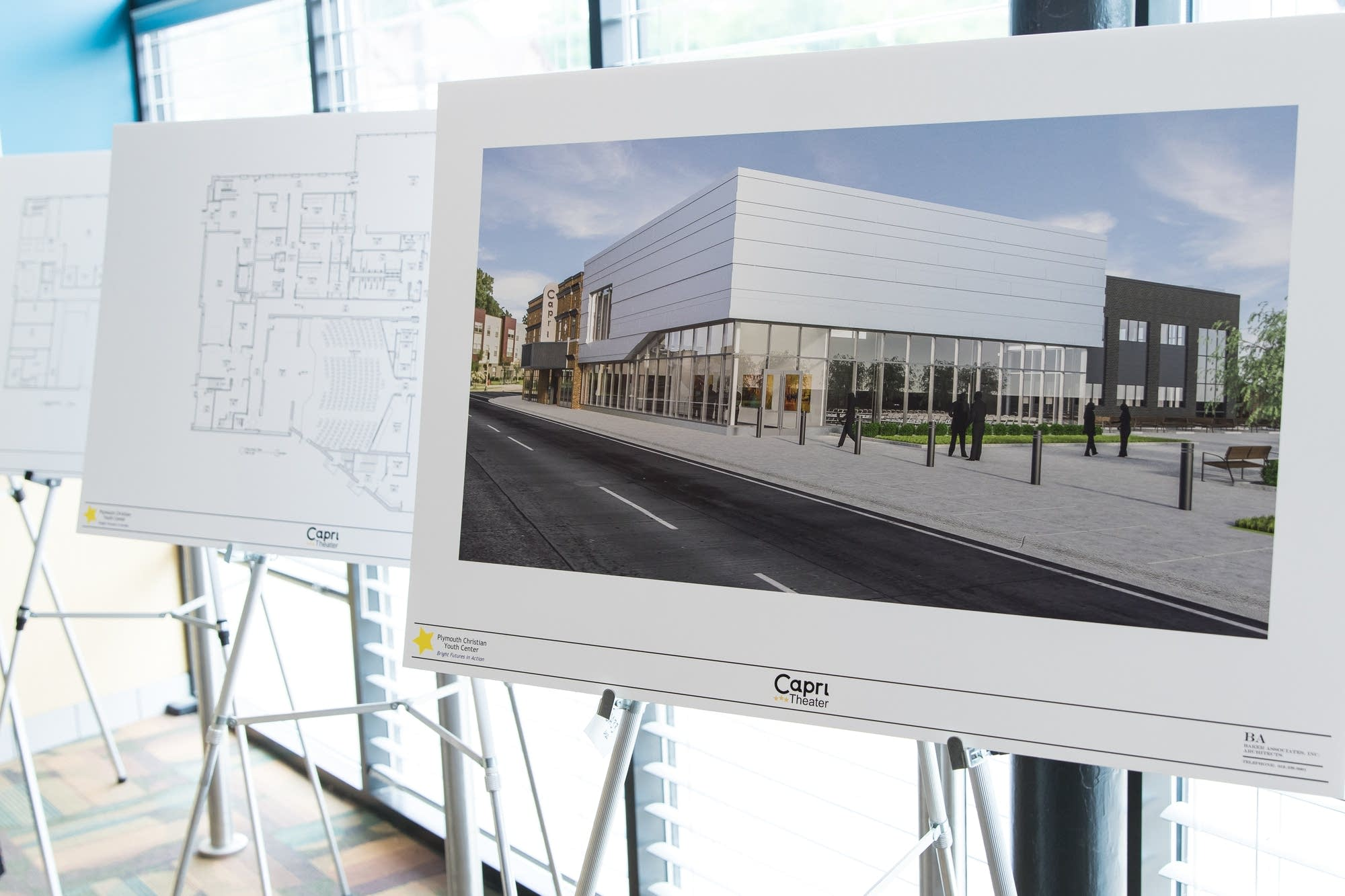 Blueprints and artist's renditions of the new Capri Theater.